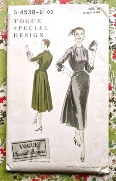Vogue S4538  Vintage 1950s Womens Dress Pattern with by Fragolina, $38.00