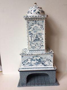Dollhouse Miniature Artisan OOAK Renee Isabelle Chinoiserie Fireplace