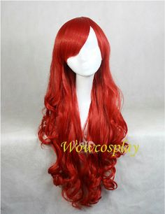 The Little Mermaid Cherry Red Long Curly Cosplay Wig, Layered Wig Ariel Costume Halloween Wigs