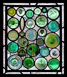 Daniel Maher stained glass. You can use bottle bottoms, wine glass bottoms  or rondelles