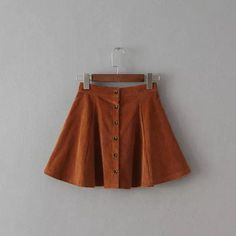 Retro Slim Wild Single Row of Buttons High Waist Corduroy Skirt Umbrella Skirt