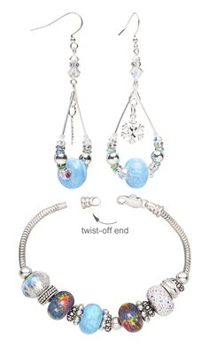 Jewelry Design - Bracelet and Earring Set with Dione® Large-Hole Beads, Swarovski Crystal and Sterling Silver Charms - Fire Mountain Gems and Beads