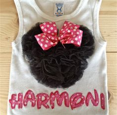 Minnie Mouse Personalized Ruffle Tank YOU by TwoByTuTuCreations, $35.00