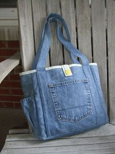 We made our Bayleigh tote in a smaller size so we could use a pair of upcycled jeans. We think it turned out pretty cute! This tote has two Upcycle Jeans Tote by LiliAndLibby on Etsy Denim tote bag with pockets, Bolso con bolsillo Upcycling Bag from Old D Denim Tote Bags, Denim Purse, Denim Bags From Jeans, Denim Crafts, Recycled Denim, Fabric Bags, Handmade Bags, Handmade Leather, Handmade Handbags