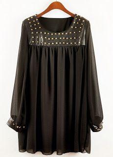 Black Contrast PU Leather Rivet Chiffon Dress