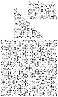 Motif pineapple Shem beautiful small pineapple The motive is small and can connect and get a big napkin. Beautiful crochet motif and film clip tutorial or example. Small pineapple motif, joining idea, plus birder World crochet: My works 27 Male elementy n Granny Square Crochet Pattern, Crochet Blocks, Crochet Diagram, Crochet Chart, Crochet Squares, Crochet Motif, Irish Crochet, Crochet Doilies, Manta Crochet