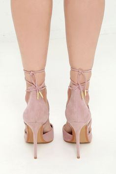 The LULUS Michele Dusty Rose Lace-Up Heels are magic in the making! Soft vegan suede composes a split, pointed-toe upper with a high-rise heel back. Crisscrossing laces wrap around the ankle and are finished in shiny gold aglets.