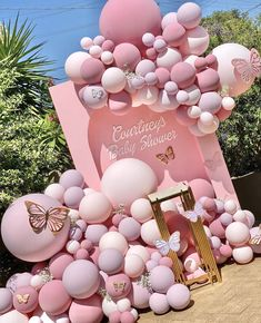 Gallery - Gender Reveal Party Decorations, Birthday Balloon Decorations, Birthday Balloons, Balloon Table Centerpieces, Pink Party Decorations, Butterfly Birthday Party, Butterfly Baby Shower, 18th Birthday Party, Baby Girl Shower Themes