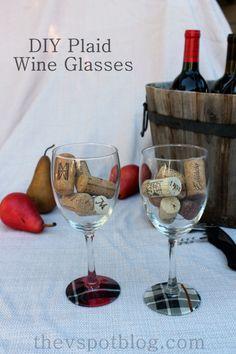 Plaid wine glass tutorial