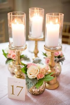 Pillar Candle Centerpiece // collection, gold, bud vases, roses, dusty miller, romantic, classic, blush, classic