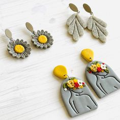 Polymer Clay Embroidery, Polymer Clay Beads, Polymer Clay Crafts, Diy Clay Earrings, Diamond Paint, Clay Design, Clay Art, Biscuit, Creations