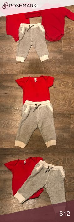 OshKosh 12 m Valentines outfit sweatpants & shirts OshKosh Kids black and white knit sweatpants, size 12 months. Paired with two red shirts: American Apparel short-sleeve onesie size 6-12 months and Garanimals long sleeve onesie size 12 months. Long sleeved onesie has a pin-hole on back by collar and is missing one snap in the crotch. Used in good condition from a smoke free and 1 🐶 home. Bundle with my other children's listings and save! Osh Kosh Matching Sets