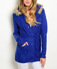 Love this Royal Faux Fur-Hooded Tie-Waist Cardigan on #zulily! #zulilyfinds