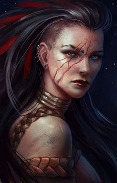 Female character fighter / barbarian with facial scars plaited leather clothing Dnd / Pathfinder character concept Anime Art Fantasy, Fantasy Rpg, Fantasy Artwork, Dark Fantasy, Fantasy Portraits, Character Portraits, Character Art, Female Character Concept, Dnd Characters