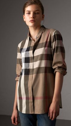 Check Cotton Shirt in Taupe Brown - Women Camisa Burberry, Casual Wear, Men Casual, Winter Outfits, Taupe, Girls Dresses, Women Wear, Luxury Fashion, Tunic