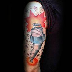 Traditional Spark Plug Male Tattoos On Arm