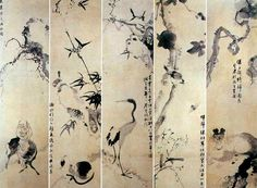 (Korea) Folding Screens by Jang Seung eop (1843-1897). ca 19th century CE. colors on paper.