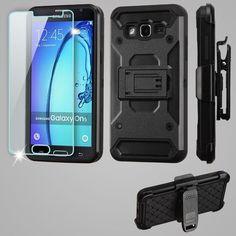 Insten Kinetic Hard Snap-on Dual Layer Hybrid Case Cover with Holster/ Screen Protector For Samsung Galaxy On5 #2272482