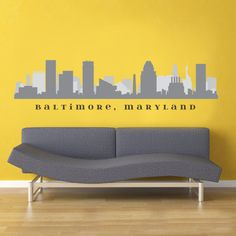 """BALTIMORE MARYLAND Skyline Wall Decal Art Fabric Stick n peel Repositionable Decal 30"""" x 9"""" Living Room City and State Decals Office Decor on Etsy, $29.99"""