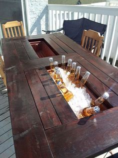 My room-mate and I built ourselves a deck table with built in coolers. I thought you guys might appreciate it. - These guys are geniuses! Deck Table, Porch Table, Outdoor Dinning Table, Bbq Table, Patio Tables, Wooden Tables, My Room, My Dream Home, Home Projects
