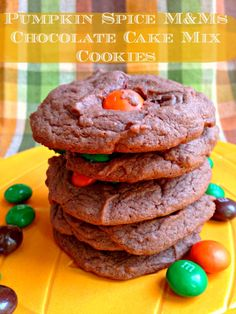 Quick and simple 4 ingredients needed for pumpkin spice m&ms chocolate cookie recipe