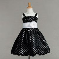Flower Girl Dresses - Flower Girl Dress Style 892- Polka Dot Bubble Hemline Party Dress