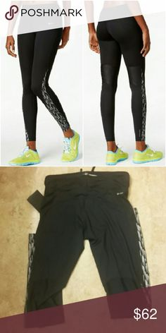 """🆕Nike Racer Flash Dri-FIT Running Leggings These sleek mid-rise leggings feature reflective print, compression support, breathable mesh, and a flattering fit. Dri-FIT wicking technology helps evaporate moisture. Drawstring. Approximate inseam: 27"""". Material: polyester/elastane. Nike Pants Leggings"""