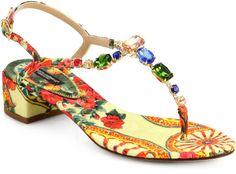 Jeweled Floral print Blockheel Sandals - Lyst