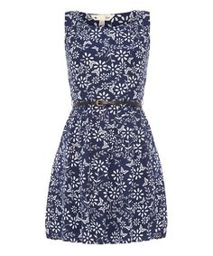 Take a look at this Yumi: Navy Floral Sleeveless Dress with Waistbelt by Yumi on #zulily today!