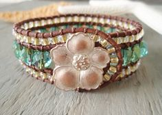 Beaded leather cuff bracelet 'Mystic Lagoon ' aqua by slashKnots, $90.00