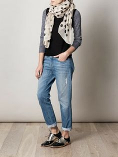 Metallic brogues with boyfriend jeans and scarf