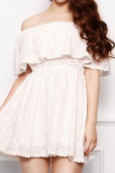 Retro Lace Ruffle Off-Shoulder Dress : The Art of Vintage-inspired & Cute Women's Clothing | Larmoni