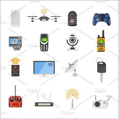 Electronic gadgets vector icons Graphics Smart house remote control electronic gadgets vector icons. Technology radio signal electronics mult by Vectorstockerland