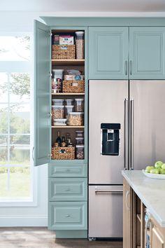 Kitchen Pantry Design, Diy Kitchen Storage, Kitchen Redo, Home Decor Kitchen, New Kitchen, Home Kitchens, Bathroom Storage, Small Bathroom, Storage Cabinets