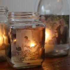 Mason Jar Photo Candles ~ Print out your favorite photos onto clear shipping labels. If you have a graphic program, print them in a strip. Stick them to the outside of the jar. Drop in a candle. <3 What a wonderful gift for family too!