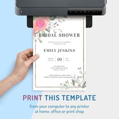 Floral Bridal Shower Invitation template is designed to help you create beautiful invitations for your pre-wedding celebration and host a memorable bridal shower party. Customize, save and download to your device or order high-quality prints. #ideas #invitation #bridal #invitations #unique Cheap Bridal Shower Invitations, Bridal Shower Invitation Wording, Unique Invitations, Invitation Ideas, Invitation Design, Elegant Bridal Shower, Bridal Shower Party, Celebrity Weddings, Wedding Stationery