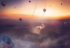 Fly Away - little boy in a hot air balloon composite