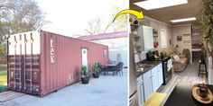 With a growing trend in minimalistic living, some people have been turning ordinary storage containers into a dream home full of warmth. Small Cottage House Plans, Tiny House Cabin, Cottage Homes, Tiny Houses, Storage Container Homes, Storage Containers, Tiny House Movement, Camping And Hiking, Own Home