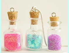 Your little girl is going to love making this DIY Fairy Dust Pendant. Making fairy dust is so easy, and she will love wearing her fairy dust in a jar. Let her get creative with the colors of DIY fairy dust, too. Bottle Charms, Bottle Necklace, Fairy Crafts, Fun Crafts, Xmas Crafts, Kids Jewelry, Jewelry Making, Glass Jewelry, Bottle Jewelry