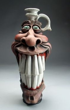 Mitchell Grafton - Smiling Jug Ceramic Sculpture  Inspiration for paper mache r clay mask....