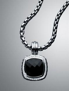 David Yurman Necklace. Black onyx and diamonds.....earrings to match.