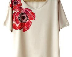 Hand Painted Shirt Art Clothing Handpainted Peony Flower T