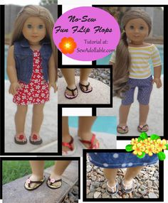 No-Sew Fun Flip Flops for American Girl Dolls - Free Sewing Pattern for American Girl Dolls