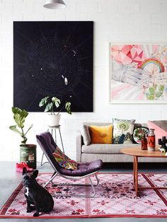 Eclectic and colorful living room - Australian Artist Kirra Jamison's home is in the current issue of Inside Out Magazine.