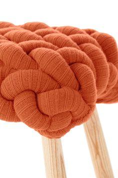 Upholstered wool #stool ORANGE KNITTED STOOL by GAN By @gandiablasco | #design Claire-Anne O'Brien #woven #orange #stool