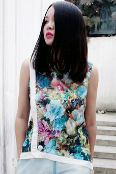 ROMWE | Contrast Trimming Floral Print Green Vest, The Latest Street Fashion#ROMWE