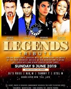 80s LEGENDS TRIBUTE  Queens Birthday long weekend  SUNDAY 9 June  doors open 9:00pm till late  Chasers Nightclub 386 Chapel St South Yarra  #georgemichael #prince #michaeljackson #whitneyhouston #music #80sfashion #80smusic #nightlife #chapelstprecint #southyarra #melbourne #queensbirthdayweekend #chasersnightclub_ George Michael, Michael Jackson, Queens Birthday Long Weekend, Queen Birthday, 80s Music, Door Opener, Nightclub, Nightlife, First Night