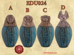 Art In History's replica is an example of canopic jars found in the tomb of Egypt's Ramses II. World History Projects, World History Classroom, History Jokes, Art History, Family History, Ancient Egypt Crafts, Canopic Jars, Mystery Of History, Egyptian Art