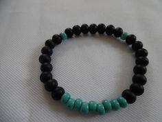 Bracelet pour homme noir et bleu turquoise, perles en bois et verre. : Bijoux…