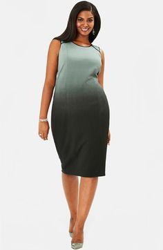 Mynt 1792 Ombré Print Sleeveless Ponte Sheath Dress (Plus Size) available at #Nordstrom